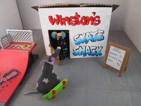 Vincent looks amazed at Winston's Skate Shack, and a proper skate ramp.