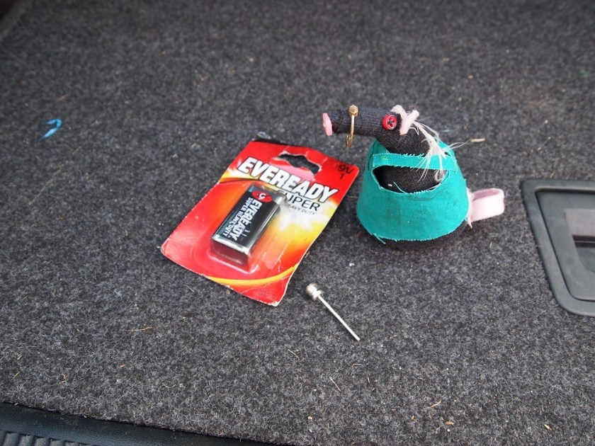 Fury has found a battery, a football pump valve and a child's plastic ring.