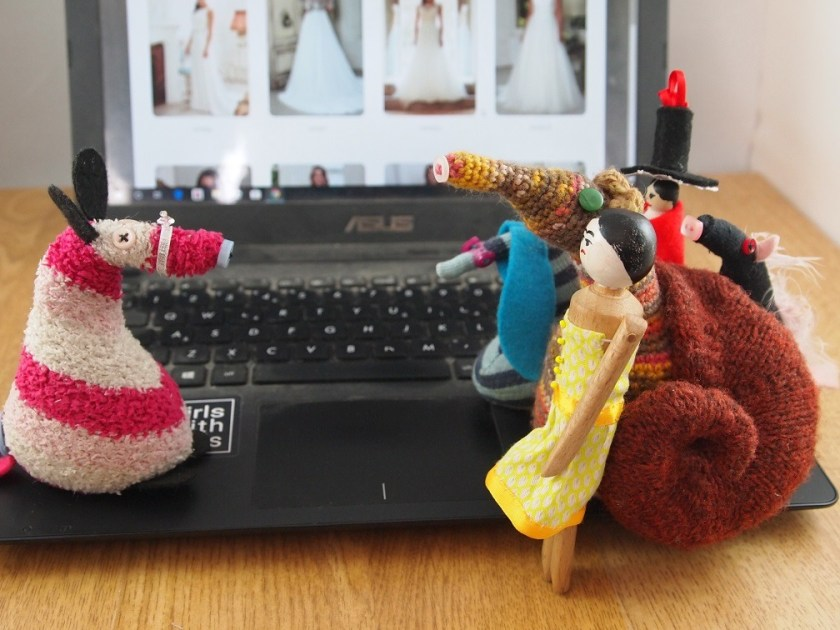 Matilda talks to Fury, Esther, Ofelia, Peggy and Mary, in front of a laptop