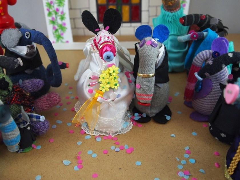 Matilda and Dim are covered in confetti