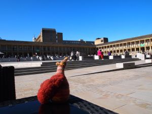 esther admires the piece hall
