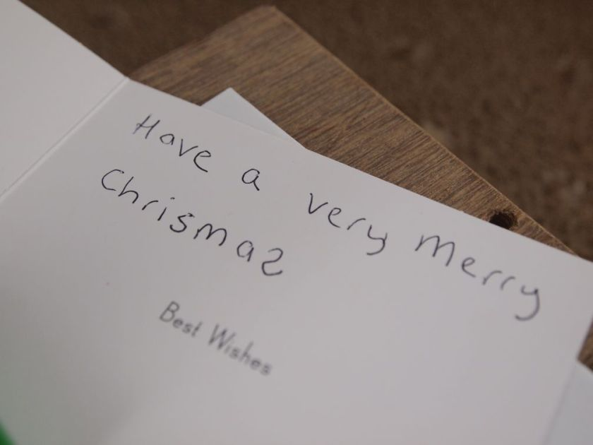 The message reads Have a very Merry Chrismas, with no T and the last S the wrong way round