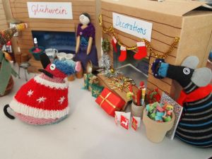 Hypno runs the christmas decoration stall