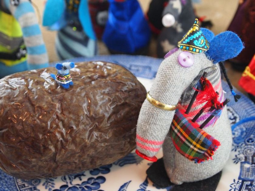 A close up of Dim and Nano on the haggis