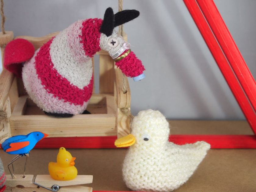 a knitted duck appears