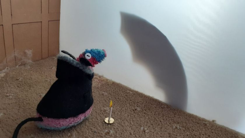 Ratvaark sees a giant shadow on the wall, which looks like a giant bat wing