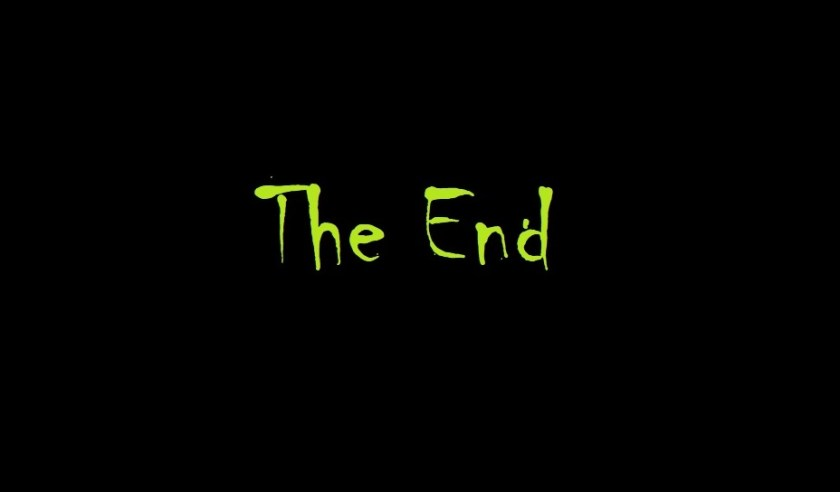 "A final black card reads ""The End"""