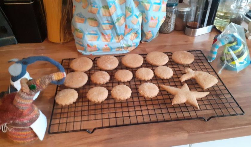 The biscuits are all out on a cooling rack