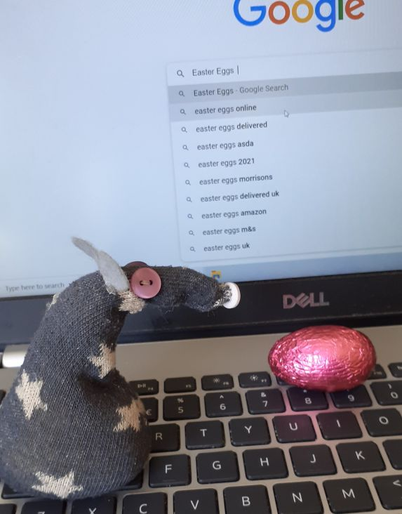 A foil covered egg has appeared on the keyboard.