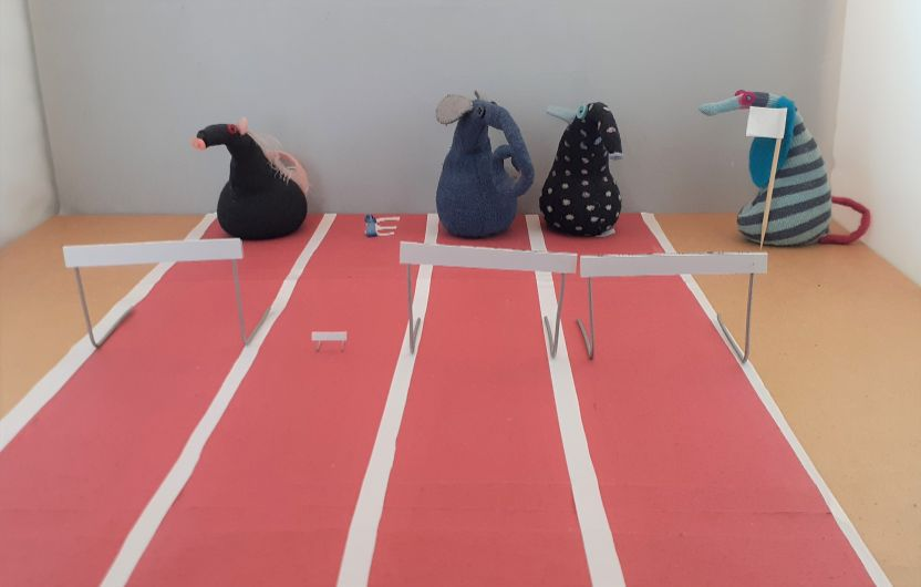 Fury, Nano, Ernest and Winston are lined up on a track, with a hurdle in each lane. Nano's hurdle is tiny compared with the others. Ofelia has a white flag