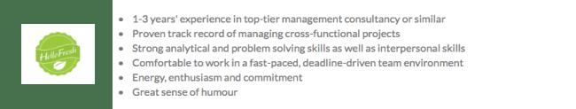 Hellofresh strategic projects job requirements