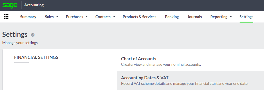 Accounting Dates and VAT settings