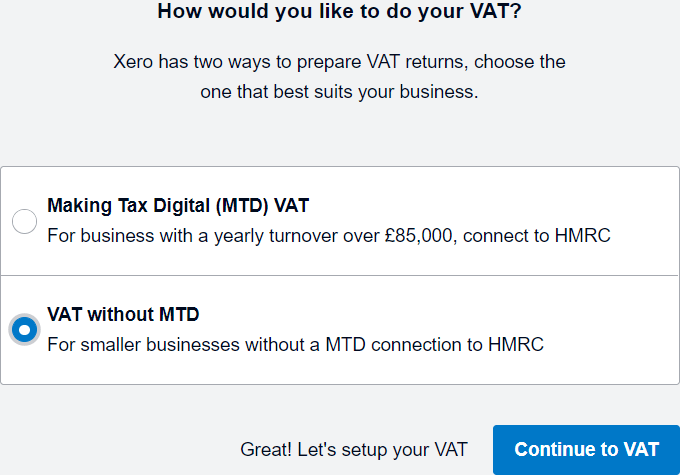 select VAT without MTD