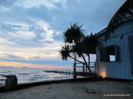 A sunset view of the beach in Kep, Cambodia.
