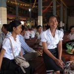During Pchum Ben, it is traditional to wear white, the Cambodian color of mourning.