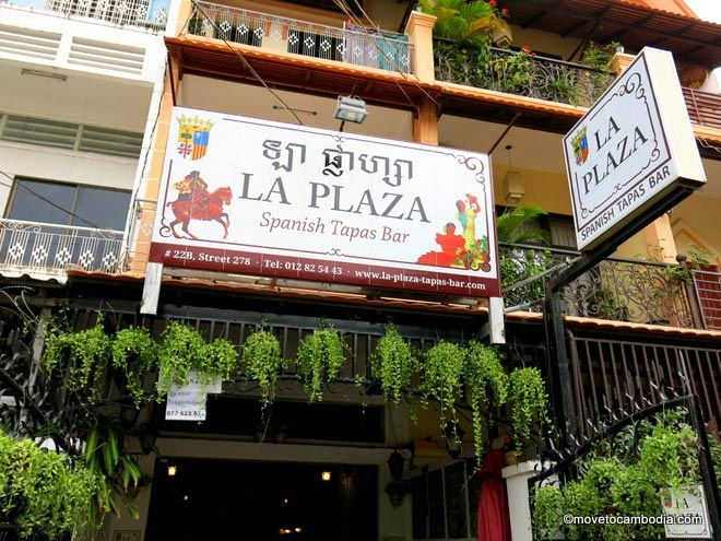 The outside of La Plaza Spanish Tapas Bar in Phnom Penh, Cambodia.