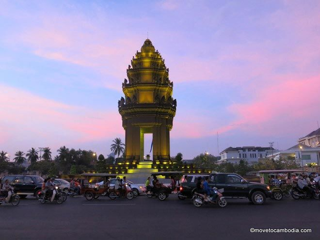 Cambodia Independence Monument at dusk