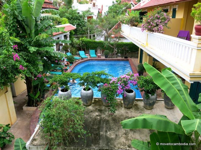 Golden Banana Siem Reap balcony view of the pool.