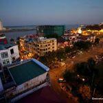 View from the Frangipani Royal Palace hotel's rooftop bar at sunset.