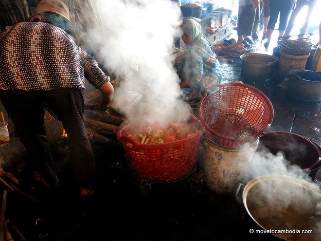 Cooking crabs at Kep Crab Market