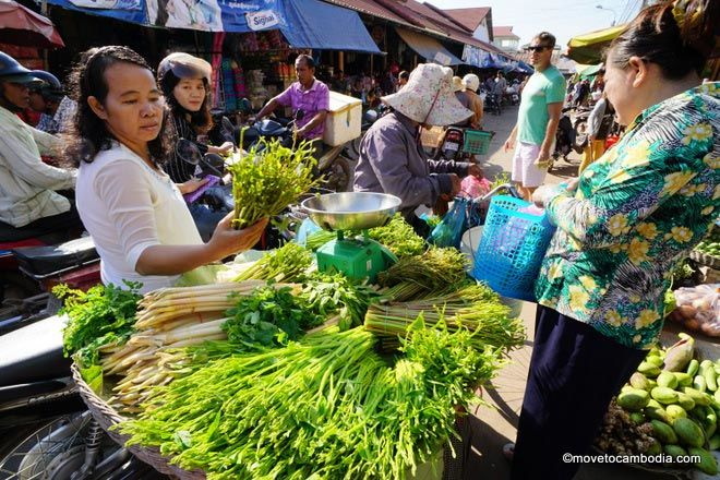 Buying ingredients at a Cambodian market.