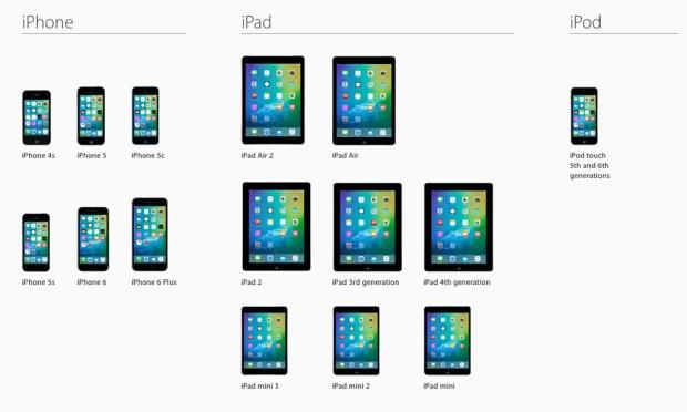 Apple iOS 9 equipos compatibles