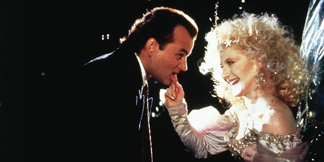 Bill Murray and Carol Kane in Scrooged 1988