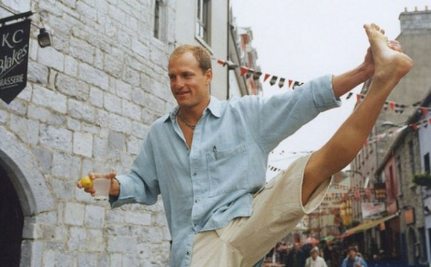 Actor Woody Harrelson celebrates at the Galway Film Fleadh