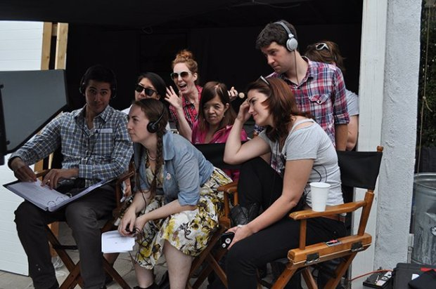 Writer-director Liz Manashil (foreground, center) and team on the set of feature Bread and Butter Credit: Photograph by Amy Taylor