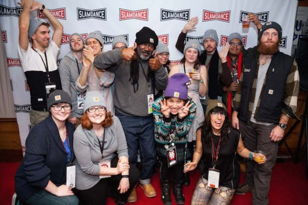 Happy Slamdancers at the Carhartt Happy Hour. Courtesy of Slamdance.