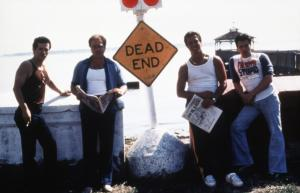 SUMMER OF SAM, from left: John Leguizamo, Michael Rispoli, Al Palagonia, Ken Garito, 1999, © Buena Vista