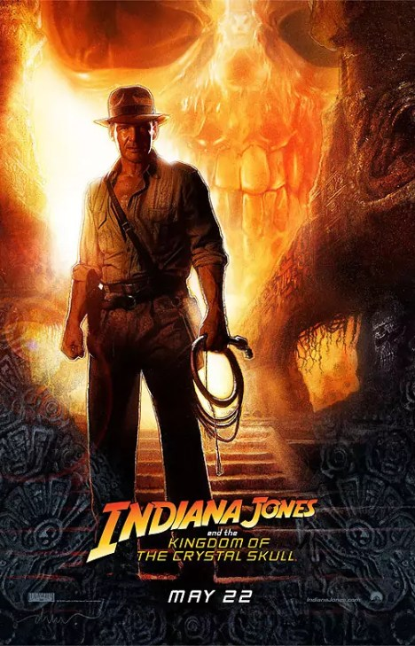 Harrison Ford op de poster van Indiana Jones and The Kingdom of the Crystal Skull