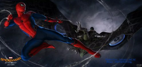Spider-Man vs Vulture in Spider-Man Homecoming concept art
