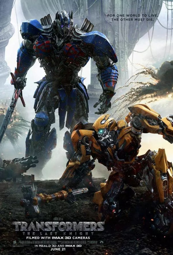 Optimus Prime vs. Bumblebee in Transformers 5: The Last Knight poster