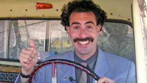 "Borat Subsequent Moviefilm (2020)<center><img class=""alignnone size-full wp-image-310"" src=""https://www.moviereviews.us/wp-content/uploads/2018/09/IMG_2346-2.jpg"" alt="""" width=""107"" height=""23"" /></center>"