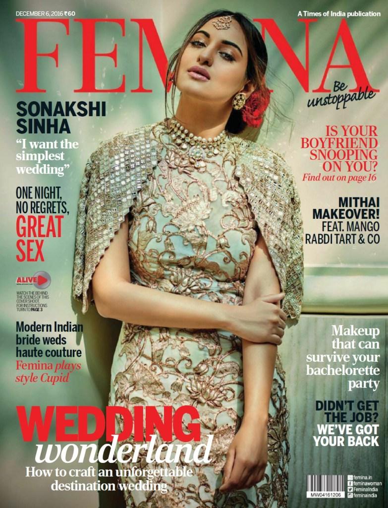 Sonakshi Sinha on Cover Femina Magazine Photoshoot December 2016 Issue Image