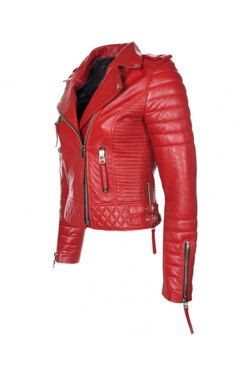 Women S Red Leather Quilted Biker Jacket