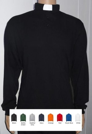 long sleeved cotton clergy polo shirt in 8 colours