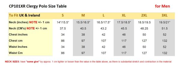 Clerical Shirt Size table