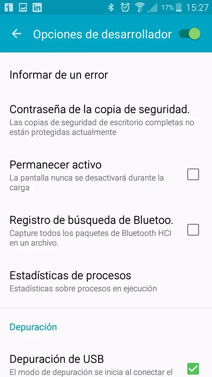 Opciones desarrollador android9