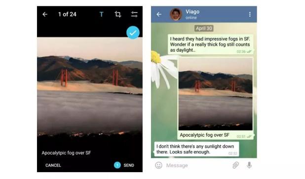 Telegram comentarios en fotos