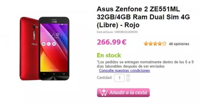 Precio del Asus Zenfone 2