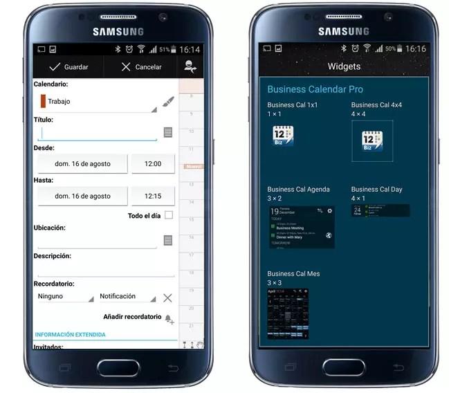 Posibilidades adicionales de la aplicación Business Calendar Pro
