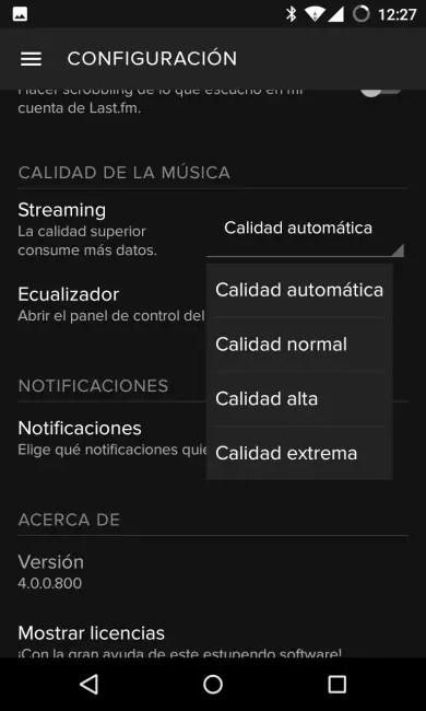 Elegir la calidad de la música en Spotify para Android