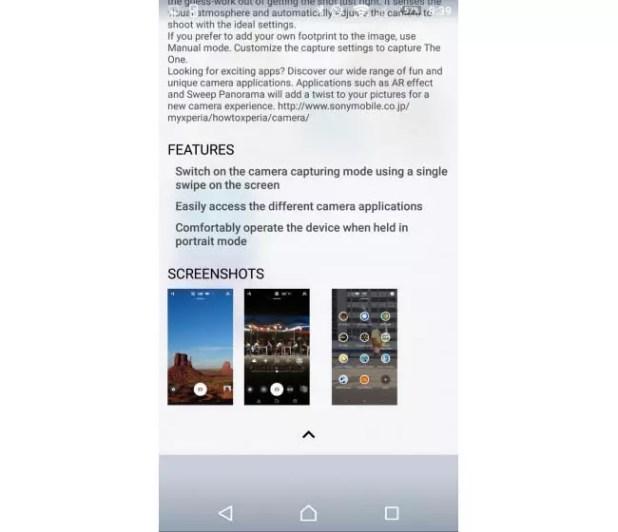 Xperia Z5 camara app
