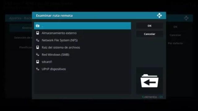 Elegir ruta backup Kodi Android