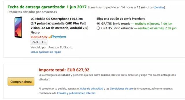 Precio del LG G6 comprado con ©Amazon Premium