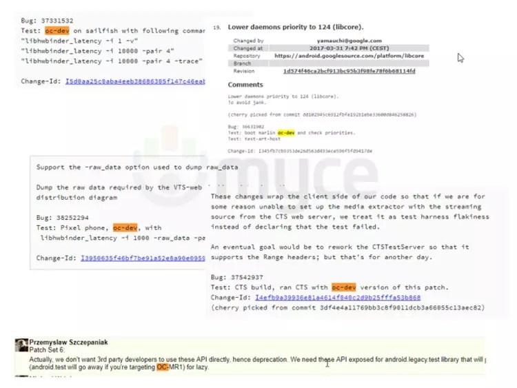 Referencias de Oatmeal Cookie en el código fuente de Android 8.0