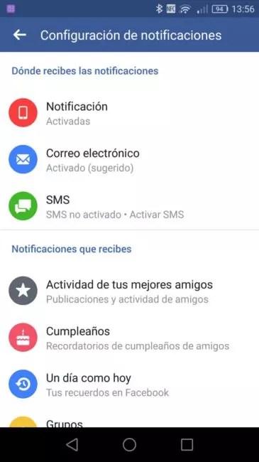Configuración comunicaciones Facebook℗ Android