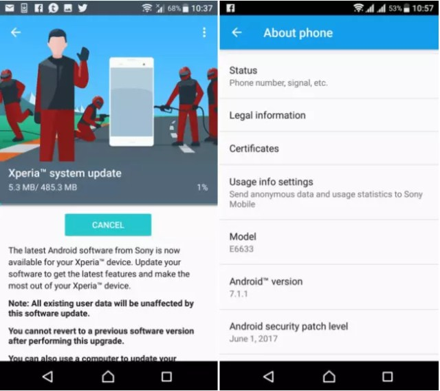 Android 7.1.1 en Sony